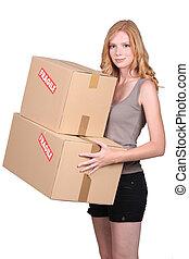 girl, cartons, jeune, deux