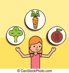 girl cartoon and carrot tomato broccoli