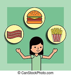 girl cartoon and food burger french fries and bacon