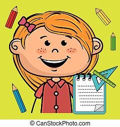 girl cartoon child notebook