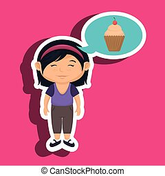 girl cartoon cup cake