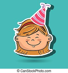 girl cartoon hat party