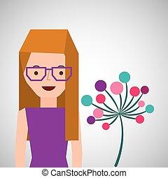 girl cartoon ornamental flower