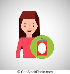 girl cartoon recycle icon can