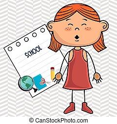 girl cartoon school student icon