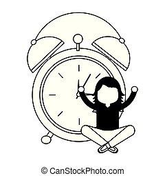 Wake up funny alarm clock  Wake up clock  vector cartoon