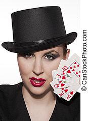 girl, casino, chapeau