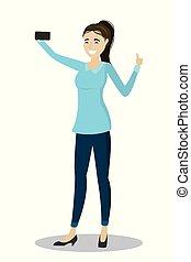 girl, caucasien, selfie, dessin animé, marques