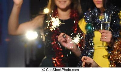Girl celebrating New Year