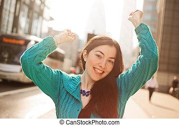 girl celebrating