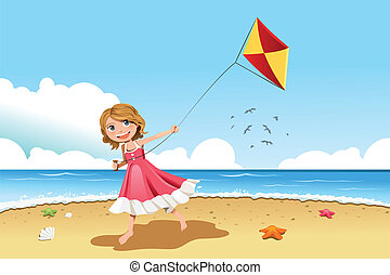 girl, cerf-volant vol
