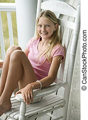 girl, chaise, balancer, porch.