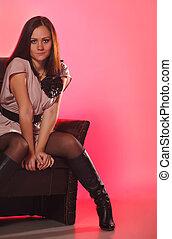 girl, chaise, beau, séance