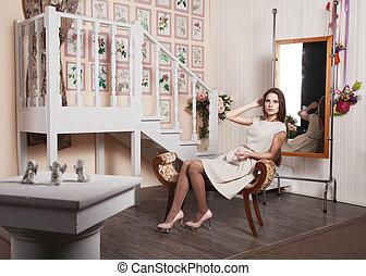 girl, chaise, clair, robe, séance, beau
