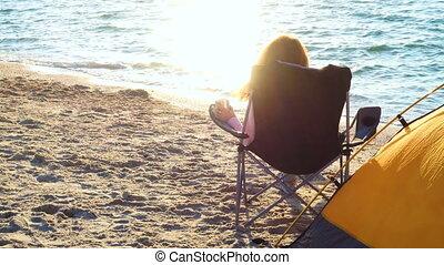 girl, chaise, délassant