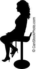 girl, chaise, fond blanc, silhouette, séance
