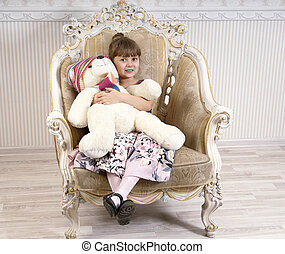 girl, chaise, ours