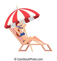 girl, chaise, swimsut, lunettes soleil, délassant, plage, beau