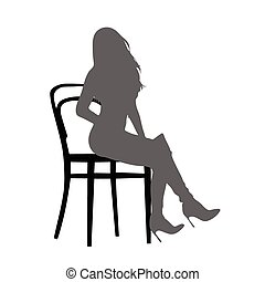 girl, chaise, vecteur, silhouette