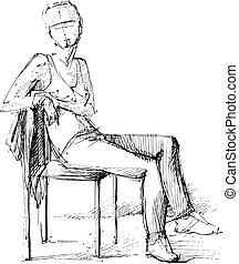 girl, chaise