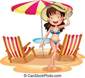 girl, chaises, devant, parapluie