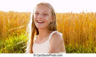 girl, champ, jeune, été, céréale, sourire