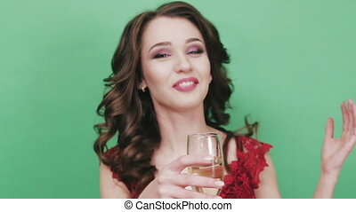 girl, champagne, boire, jeune