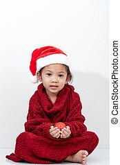 girl, chandail, noël, chapeau rouge, balle, tenue, santa