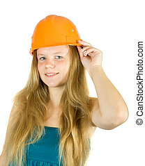girl, chapeau dur