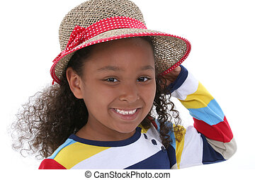 girl, chapeau, enfant