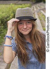 girl, chapeau, jeune, joli