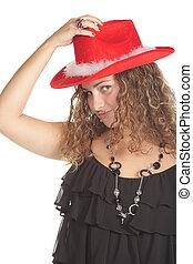 girl, chapeau, rouges, joli
