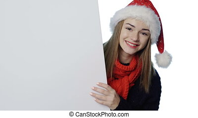 girl, chapeau, santa