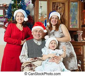 girl, chapeaux, famille, santa, bébé