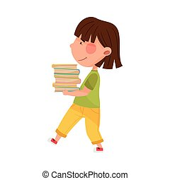Girl Character Carrying Pile of Books as Sorted Garbage for Recycling Vector Illustration