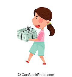 Girl Character Carrying Pile of Paper as Sorted Garbage for Recycling Vector Illustration
