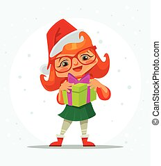 Girl character hold christmas gift box. Marry Christmas. Happy New Year. Vector flat cartoon illustration