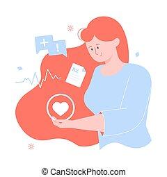 Girl character holds heart. Women Health.