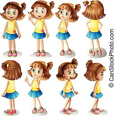 Girl character in different positions