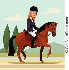 Girl character riding horse. Professional sport. Vector flat cartoon illustration