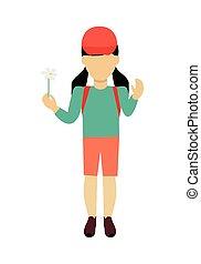 Girl Character Template Vector Illustration.