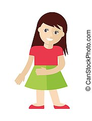 Girl Character Vector Illustration in Flat Style