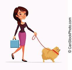 Girl character walking with dog character. Vector flat cartoon illustration