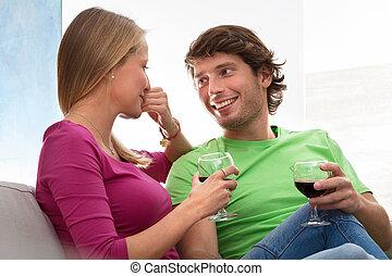 Girl charmed by her boyfriend
