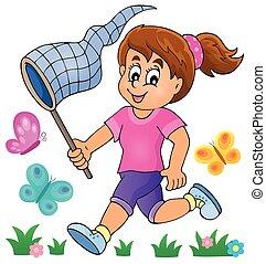 Girl chasing butterflies theme image 1