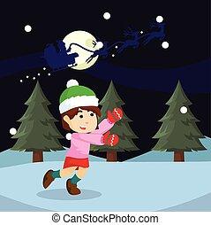 girl chasing santa illustration design