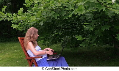 girl chat laptop phone - young blonde pregnant girl talk...