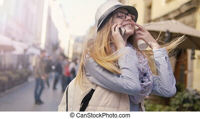 Girl Chatting on Phone while Walking