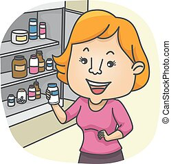Girl Check Medicine Cabinet - Illustration of a Girl...