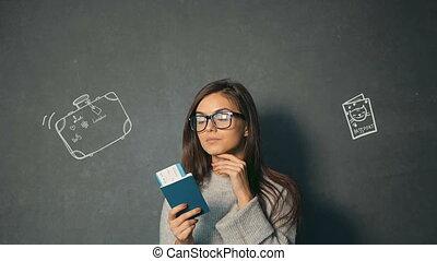 Girl Checks the Ticket Information